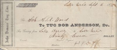 Bob Anderson, Tug to S. A. Wood, Receipt
