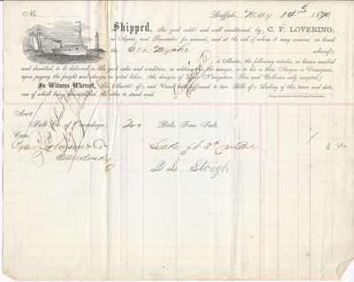 C. F. Lovering to Mystic, Bill of Lading