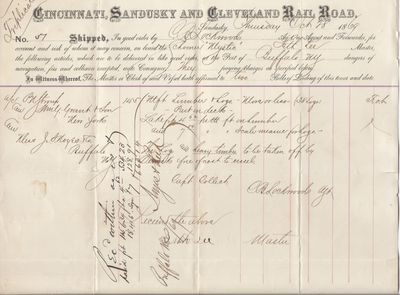 Cincinnati, Sandusky & Cleveland Rail Road to Mystic, Bill of Lading