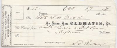 Clematis, Tug to S. A. Wood, Receipt