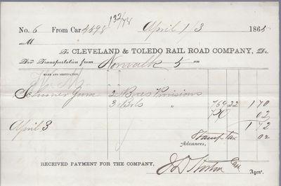 Cleveland & Toledo Rail Road Company to Jura, Receipt
