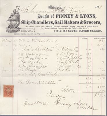 Finney & Lyons to S. A. Wood, Accounts