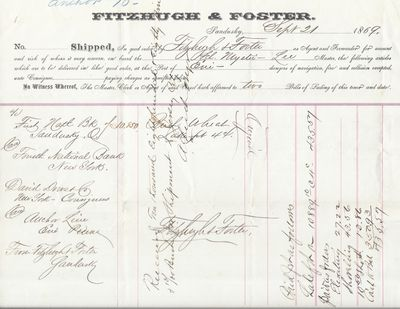 Fitzhugh & Foster to Mystic, Bill of Lading