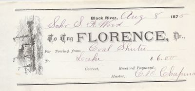 Florence, Tug to S. A. Wood, Receipt