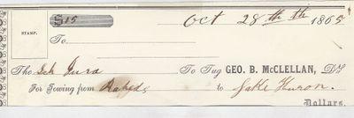 George B. McClellan, Tug to Jura, Receipt