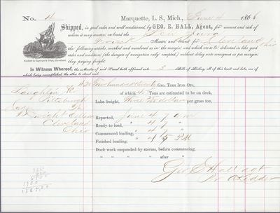 George E. Hall to Jura, Bill of Lading
