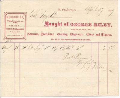 George Riley to Mystic, Receipt