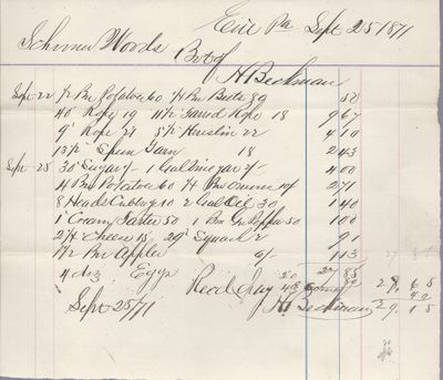 H. Beckman to S. A. Wood, Accounts