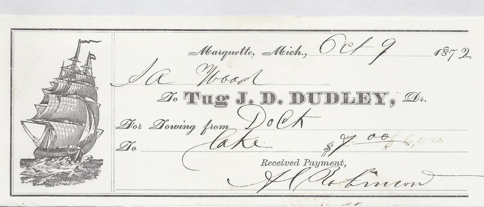 J. D. Dudley, Tug to S. A. Wood, Receipt