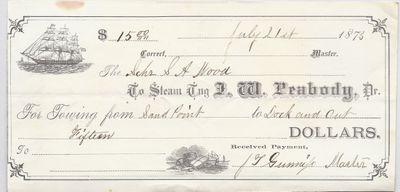 J. W. Peabody, Tug to S. A. Wood, Receipt