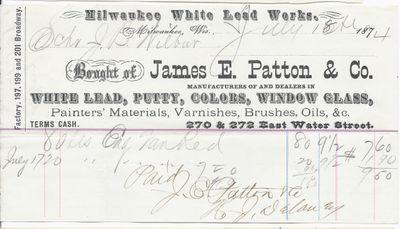 James E. Patton & Co., Milwaukee White Lead Works to John B. Wilbor, Receipt