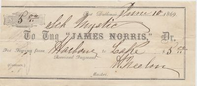 James Norris, Tug to Mystic, Receipt