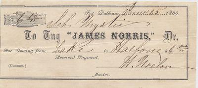 James Norris, Tug to Mystic, Receipt