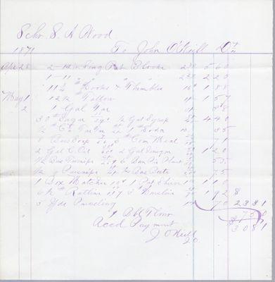 John O'Neil & Co. to S. A. Wood, Accounts