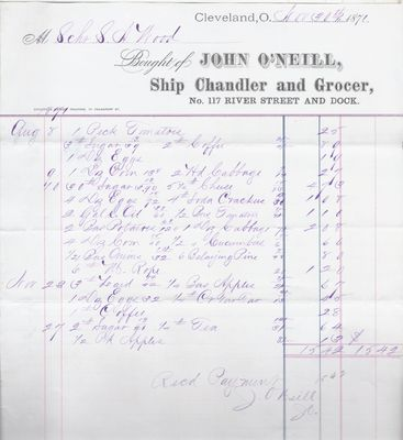 John O'Neil & Co. to S. A. Wood, Accounts