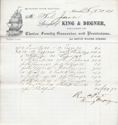 King & Degner to Jura, Receipt