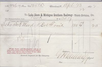 Lake Shore & Michigan Soutern Railway to S. A. Wood, Bill of Lading