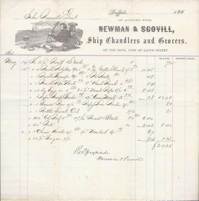 Newman & Scovill to Russell Dart, Receipt