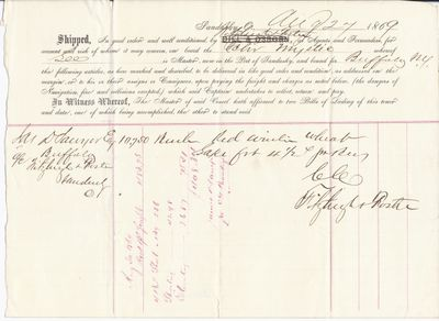 Nitzhief & Hester to Mystic, Bill of Lading