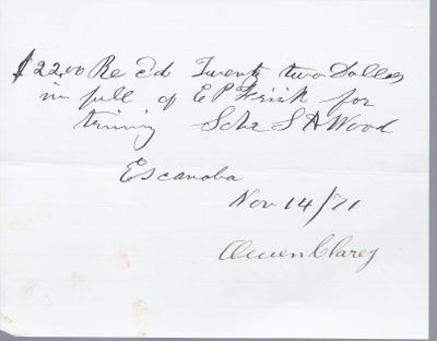 Owen Clarey to S. A. Wood, Receipt