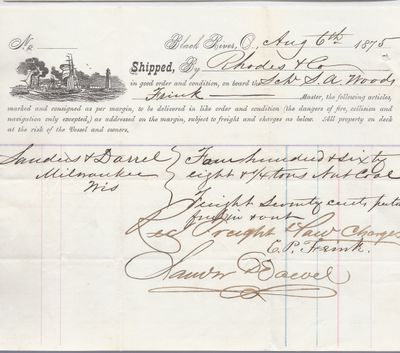 Rhodes & Co. to S. A. Wood, Bill of Lading