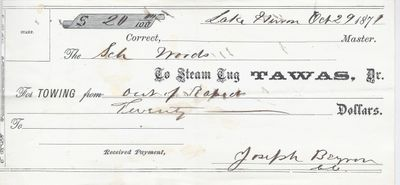 Tawas, Tug to S. A. Wood, Receipt