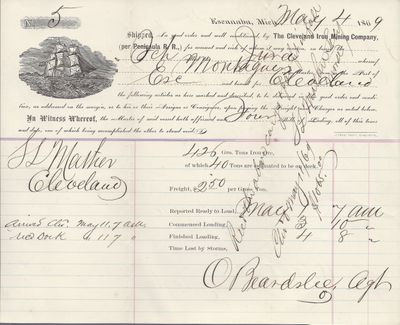 The Cleveland Iron Mining Co. to Jura, Bill of Lading