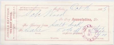 Tug Association to S. A. Wood, Receipt