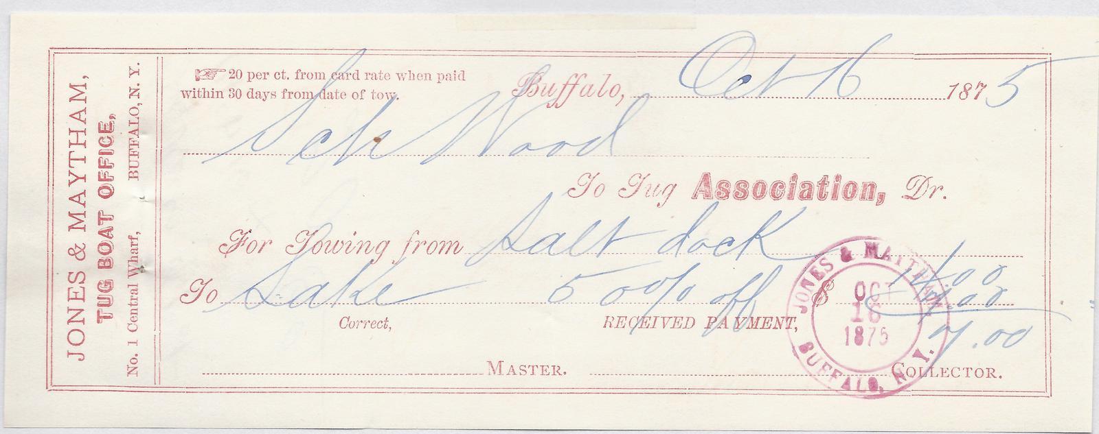 Tug Association to S. A. Wood, Receipt