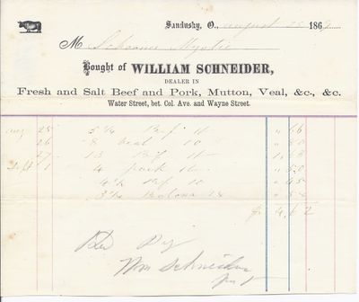 William Schneider to Mystic, Receipt