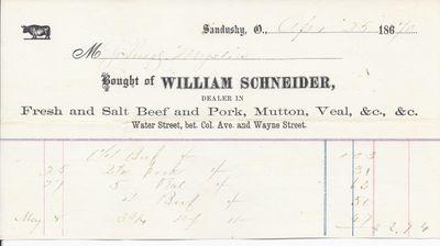 William Schneider to Mystic, Accounts