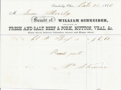 William Schneider to Mystic, Receipt