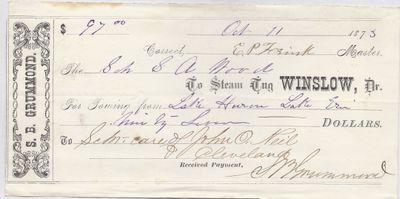 Winslow, Tug to S. A. Wood, Receipt