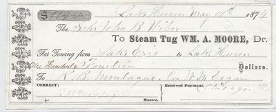 Wm. A. Moore Tug to John B. Wilbor, Receipt