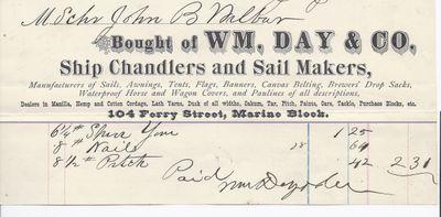 Wm. Day & Co. to John B. Wilbor, Receipt