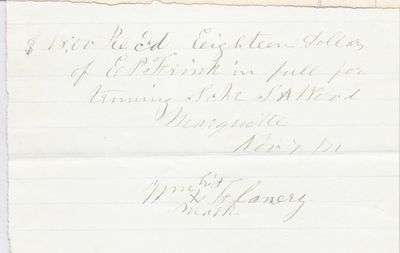 Wm. Flanery to S. A. Wood, Receipt