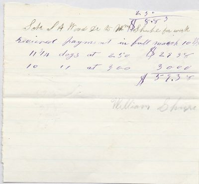 Wm. Shupe to S. A. Wood, Receipt