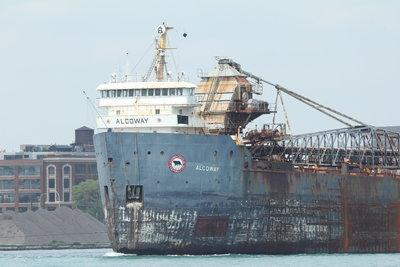Algoway under tow to scrap
