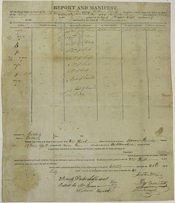 Schooner Hercules, Manifest, 20 July 1816