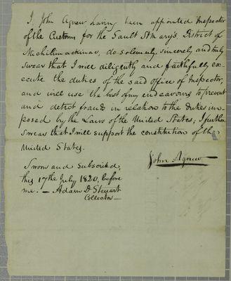 Agnew, Oath, 17 July 1820