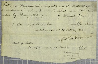 Dousman, Manifest, 22 October 1823