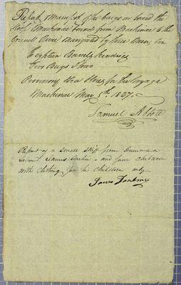 Mackinac, Manifest, 5 May 1827