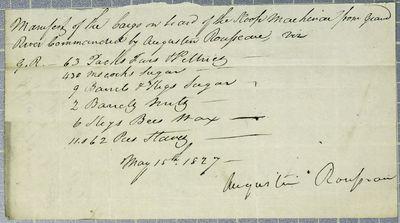 Mackinac, Manifest, 15 May 1827