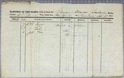 Minerva, Manifest, 25 September 1827