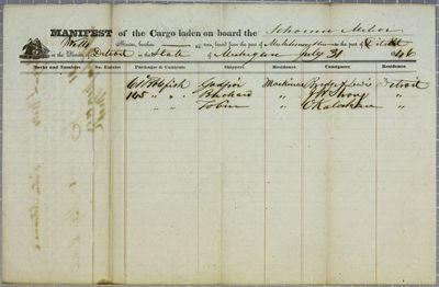 Meteor, Manifest, 31 July 1846