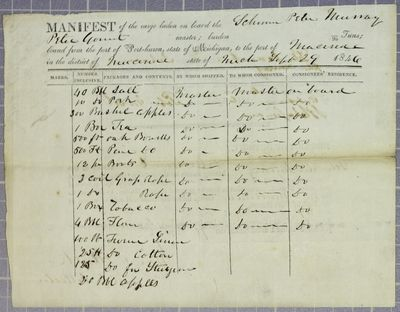 Peter Murray, Manifest, 29 September 1846