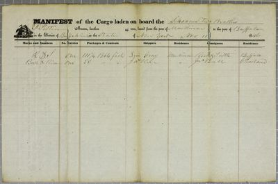 Two Brothers, Manifest, 11 November 1846