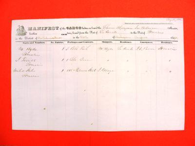 Algonquin, Manifest , 14 August 1846