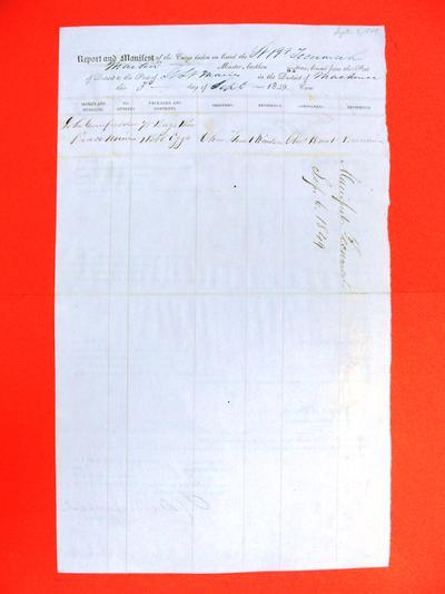 Tecumseh, Manifest, 3 September 1849
