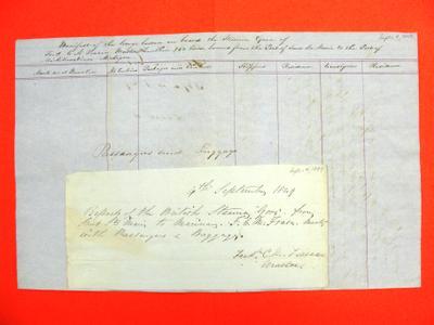 Gore, Manifest, 4 September 1849